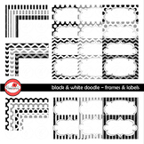 Black & White Doodle Frames and Labels Digital Borders Cli