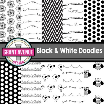 Black & White Doodles Digital Papers