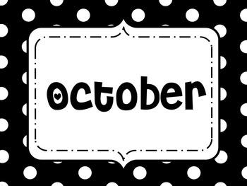Black White Dots Calendar Months