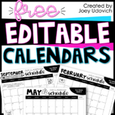 Monthly Calendar 2019-2020 & 2020-2021: EDITABLE AND FREE!