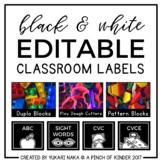 Black & White Editable Classroom Labels