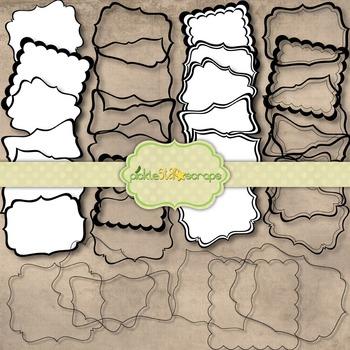 Black & White FramesandTags Pack2 Clip Art Frames Clip Art Printables Megapack