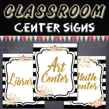 Classroom Center Signs Hall Passes & Class Rules (Black, White & Glitter Gold)