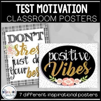 Classroom Decor Test Motivation Posters Black White Glitter Gold