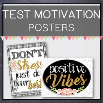 Classroom Decor Test Motivation Posters Black White & Glitter Gold