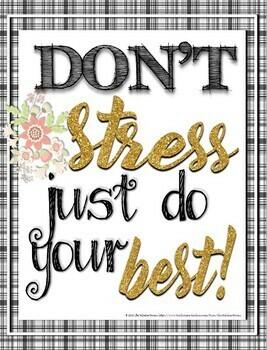 Classroom Decor Test Motivation Posters Black White & Glitter Gold