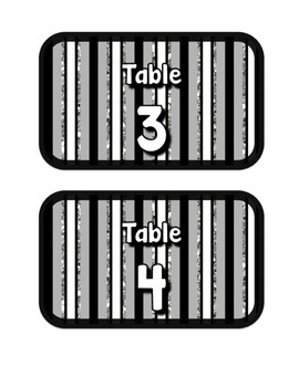 Black, White, & Glitter Table Numbers
