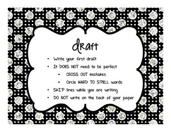 Black, White, & Glitter: Writing Clip Chart