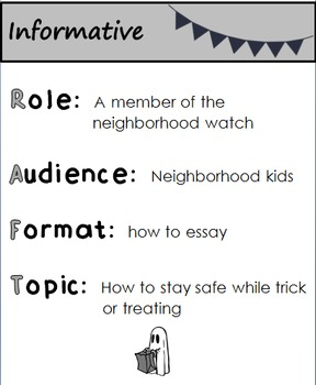 Black & White Halloween RAFT Writing Assignments