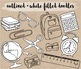 Black & White Hand Drawn Doodle Back To School Clipart - 100 images.