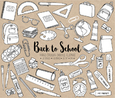 Black & White Hand Drawn Doodle Back To School Clipart - 1