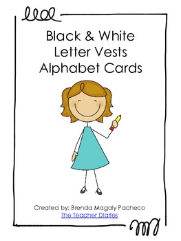 Black & White Letter Vests Alphabet Cards - Lower case