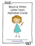 Black & White Letter Vests Alphabet Cards - Lower case