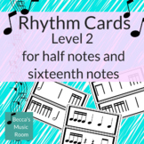 Black & White Level 2 Rhythm Cards for half notes and sixt