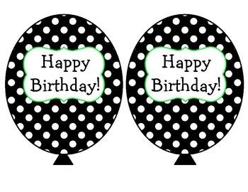 Black, White, Lime Green Polka Dot Birthday Balloons