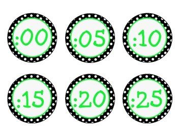 Black, White, Lime Green {Polka Dot} Clock Labels