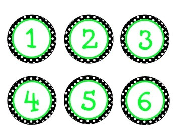 Black, White, Lime Green {Polka Dot} Student Number Labels