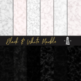 Black & White Marble Papers, Marble Textures, B&W Marble Patterns