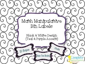 Black & White Math Manipulative Labels