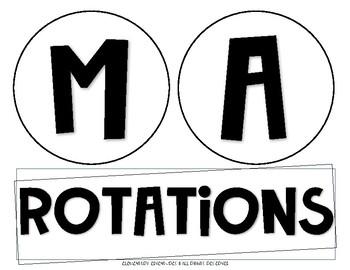 Black & White Math Rotations Board FREEBIE