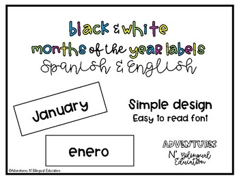 Black & White Months of the Year Labels in Spanish & English