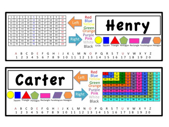 Black & White Name Tags with Letters, Numbers 1-20, Shapes, Colors, Number Grid