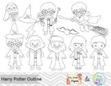 Black White Outline Harry Potter Digital Clip Art