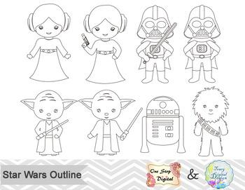 Black White Outline Star Wars Digital Clip Art