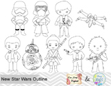 Black White Outline Star Wars Digital Clip Art