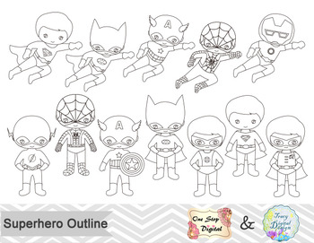 Black White Outline Superhero Boys Digital Clip Art