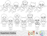Black White Outline Superhero Girls Digital Clip Art