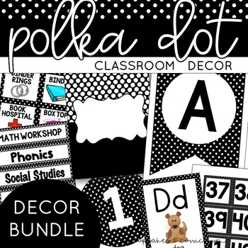 Classroom Decor: Black and White Polka Dot 170+ Page Class