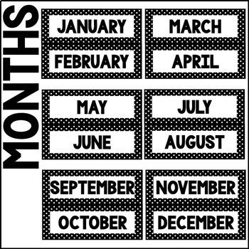 Classroom Decor: Black and White Polka Dot [Months and Days Calendar Kit]