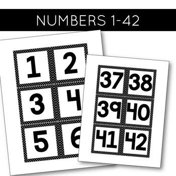 Nametags and Numbers FREEBIE   Black and White Polka Dot Classroom Decor
