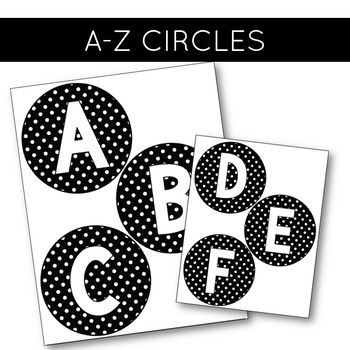 Classroom Decor: Black and White Polka Dot [Word Wall Letters]