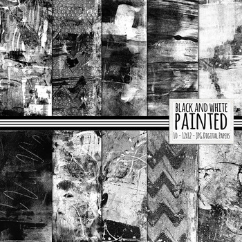 Black & White Painted Digital Paper, Messy Paint Splatter,