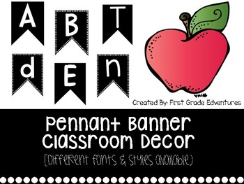 Black & White Pennant Banner Classroom Decor (letters & numbers)