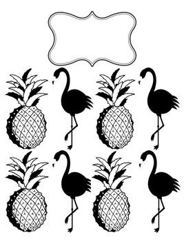 Black & White Pineapple Flamingo Print Teacher Planner Cover Page