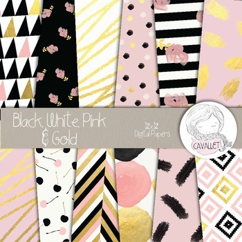 Black, White, Pink and Gold - Digital Papers