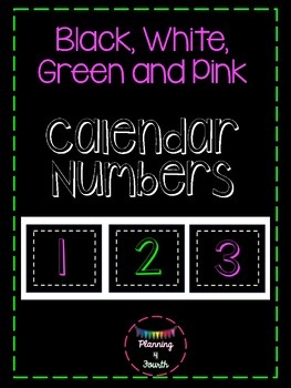 Black, White, Pink and Green Calendar Accents