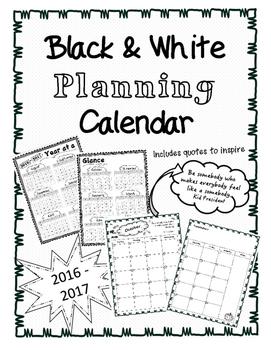 Black & White Planning Calendar (2016-2017)