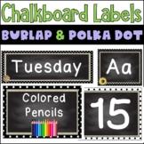Black & White Polka Dot Burlap Chalkboard- Classroom Decor