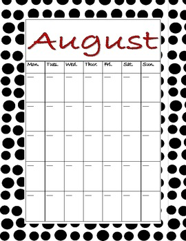 Black & White Polka Dot Calendar