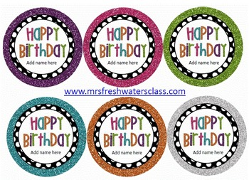 Black & White Polka Dot Editable Birthday Tags