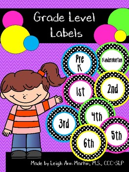 Black & White Polka Dot Grade Level Labels