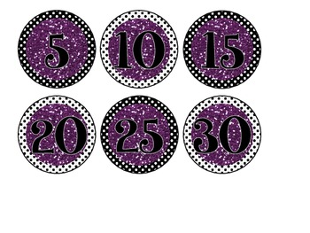 Black & White Polka Dot Library Bin Number Circles