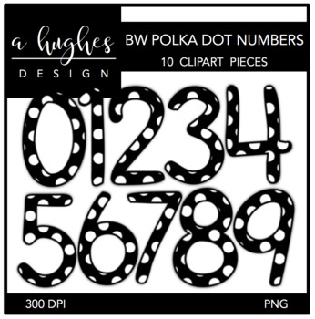 Black & White Polka Dot Numbers Clipart {A Hughes Design}