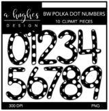 Black & White Polka Dot Numbers Clipart {A Hughes Design}