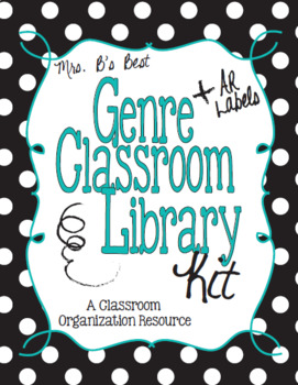 Black & White Polka Dot, Teal Genre and AR Classroom Library Kit-Now Editable