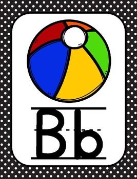 Black & White Polka Dot Theme Alphabet Posters